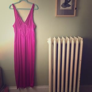 Vintage Vassarette Hot Pink Nightgown Slip Nighty